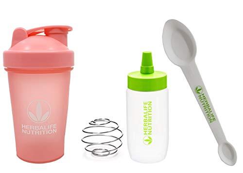 Herbalife Shaker Flasche 400 ml, Pink, Herbalife Löffel, 1 Packung und Protein-Aufbewahrung, Pre-Workout-Fitness-Behälter (370 ml, 354 ml)