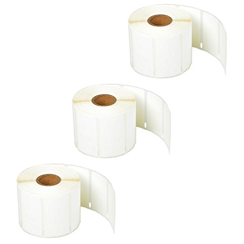 "SuperInk [3 Roll, 1500 Labels/Roll] White Self-Adhesive Jewelry Price Tag 2-up Labels Barbell Style Compatible for Dymo 30299 3/8"" x 3/4"" use in LabelWriter 300 310 450 Duo 4XL Printer,BPA Free"