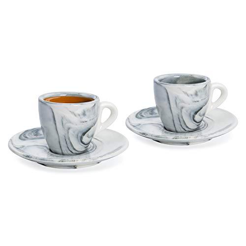 Hausmann & Söhne Espresso Tassen dickwandig | Set 4-TLG | 2er Set Schwarze Marmor Tassen mit Untertassen | Porzellan | Tasse 80ml | Espresso Tassen Set mit Untersetzer | Geschenkidee