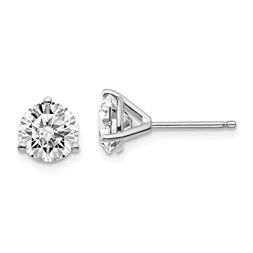 Pendientes de tuerca de oro blanco de 14 quilates con certificado SI1/SI2, G-H de laboratorio, 3 puntas de diamante cultivado en laboratorio, para mujer