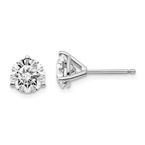 14k White Gold 2ctw Cert. Si1/si2 G H I Lab Grown Diamond 3 Prg Post Stud Earrings Fine Jewellery For Women Gifts For Her