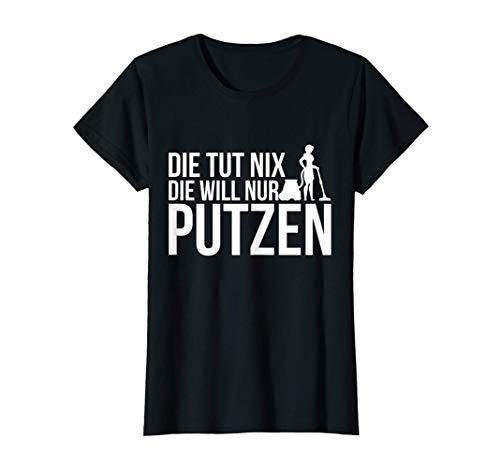 Damen Lustiger Putzfrau Spruch Staubsaugen Putzkraft T-Shirt