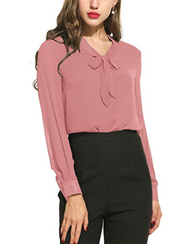 ACEVOG Casual Blouse Womens Bow Tie Neck Long Sleeve Chiffon Blouse for Formal Wear,Dark Pink,L