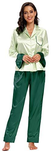 SHEKINI Damen Trompetenärmel 2 Teiliger Schlafanzug Satin Kontrastfarbe Pyjama Set mit Knopfleiste V Ausschnitt Nachthemd Langärmeliger Hausanzug (M, Grün)