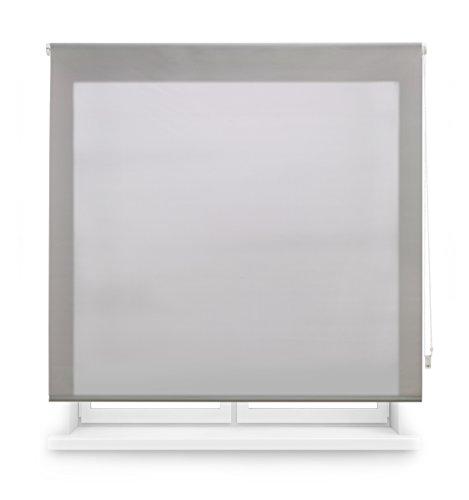 Blindecor Ara - Estor enrollable translúcido liso, Gris Plata, 160 x 250 cm (ancho x alto)