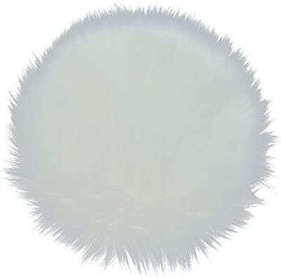 AQUEENLY Sheepskin Cushion Faux Fur Seat Cover Round Area Rugs for Office Bedroom Living Room, 12 inches (White)