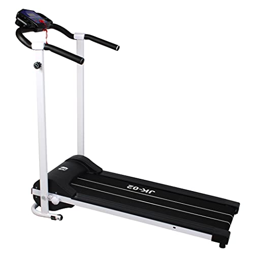 Treadmills Foldable Portable treadmill for home Running Walking Machine Gym Workout Training Equipment LED Display Monitor Device Holder Pre Set Fitness Programs   JK02 Black
