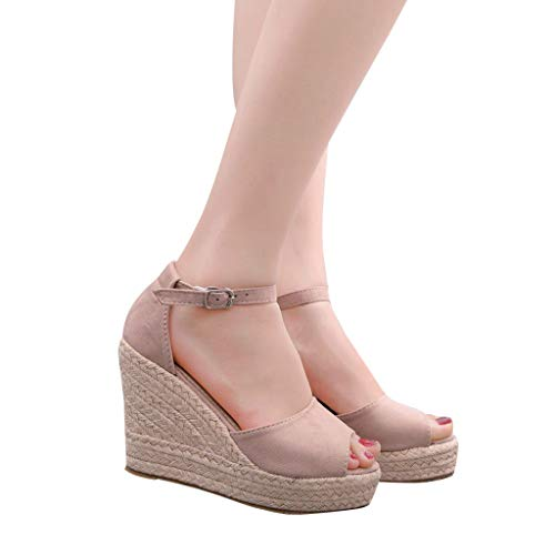 2019 Verano Sandalias Romanas Mujer, Zapato Peep-Toe Con Plataforma Cuña Alpargatas Zapatillas De Boda Fiesta Sandalias De Vestir De Talla Grande 33-44 EU(Rosa