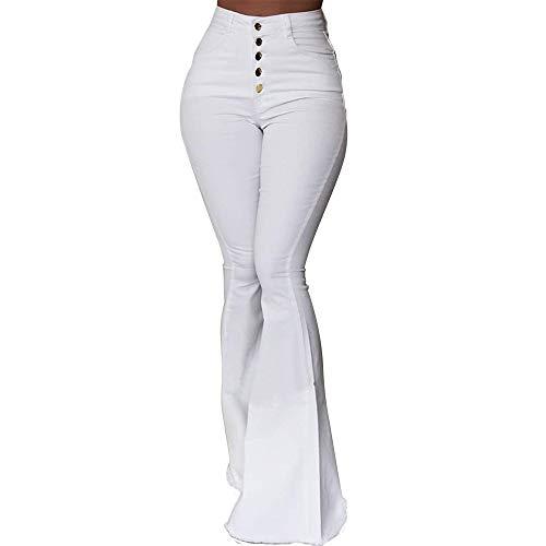 XinXinFeiEr Estiramiento Pantalones Casuales De La Cintura Delgada Pantalones De Campana Botones De Los Pantalones De Moda Casual (Color : White, Size : S)