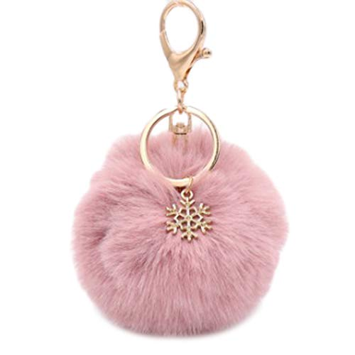 Jingyuu Schlüsselanhänger für Damen, Bommel, Dekoration, Anhänger für Autoschlüssel/Telefon/Rucksack/Handtasche/Auto/Schlüsselanhänger (Wapiti) 8 cm Dark Pink