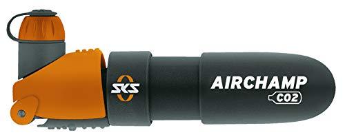 SKS GERMANY Airchamp Kartuschenpumpe geeignet für jedes Fahrrad (Fahrradpumpe, Kunststoffkörper, Ventilanschluss: AV, SV, DV, inkl. Cliphalterung, Staubschutzkappe und Pumpenhalter), Schwarz