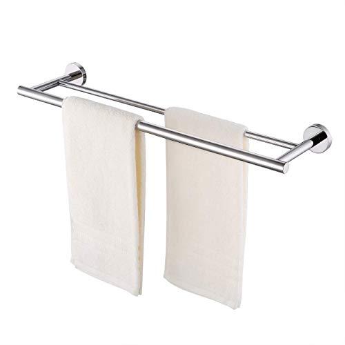KES Handtuchstange Doppel Handtuchhalter Bad Badetuchhalter Handtuch Stange Edelstahl SUS304 Zweiarmig Halterung Wandmontage 60CM Poliert, A2001S60