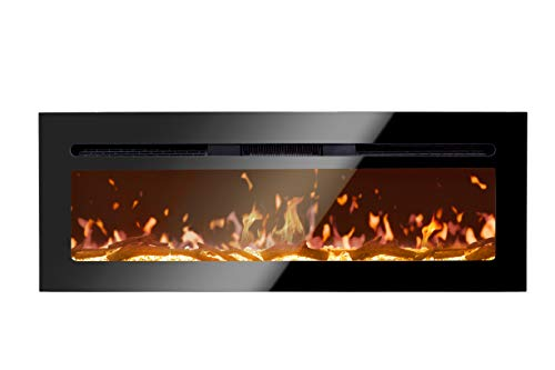 BizHomart Doris Electric Fireplace Recessed and Wall Mounted for 2X6 Stud Log & Crystal Remote Control with Timer 1500 Watt Heater, 48