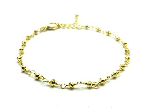 LOVEKUSH - Hermosa joyería de piedras preciosas 50% OFF - Pulseras de oro con pirita y perla de 2,5 a 3 mm - Rondelle facetado chapado en oro de 8 pulgadas - Pirita y perla de oro