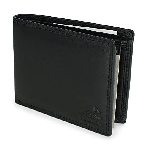 Schlanke Echtleder-Geldbörse besonders bequem einfach und extra stabil #Easycomfort, Schwarz, Triffold
