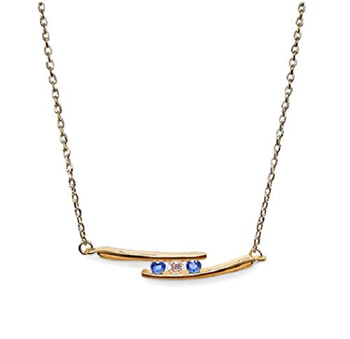 Ah! Jewellery Gift Boxed Gold Filled 3 Stone Sapphire & Clear Crystal Necklace, Stamped GL.
