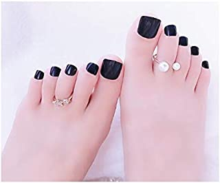 TBOP Fake Nail Art Reusable French Long Artifical False toenails 24 pcs Set Jelly Gel Type in Black Color