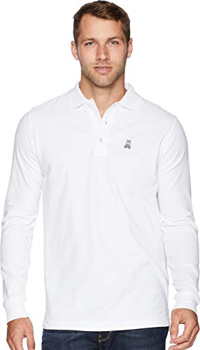 Psycho Bunny Long Sleeve Classic Polo White 2XL