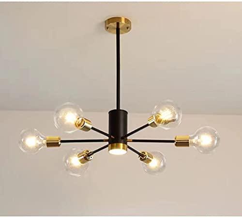 Lianye Plafoniere industriali, lampadario a soffitto in Sputnik lavorato, luce molecolare a 6 teste per camera da letto, corridoio, diametro 65 cm, lampadine non incluse