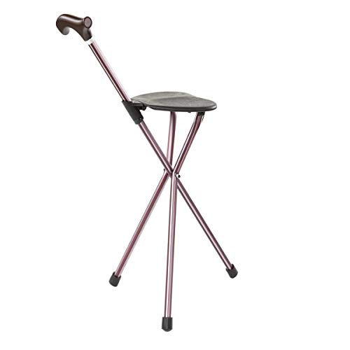 Switch Sticks Aluminum Folding Walking Cane with Seat and Walking Stick, 34 Inches Tall, Supports up to 220 Pounds, Storm