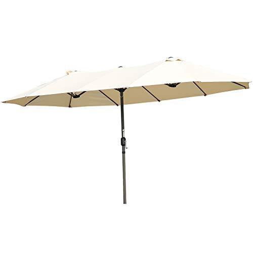 Angel Living Sombrilla Parasol Doble para Jardín, Parasol de Tela de Poliéster, Sombrilla Gigante para Playa Terrasa Patio, Protección al Solar UV, 4.6x2.7x2.4 m (Beige)