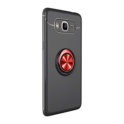 Compatible con Samsung Galaxy J2 Prime, carcasa de anillo de silicona TPU con soporte magnético para el coche, funda original para Galaxy J2 Prime negro rojo Talla única