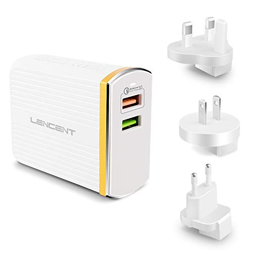 LENCENT Quick Charge 3.0 Charger, 30W Main USB Wall Fast Charger Plug, 2 Ports and US/UK/EU Travel Adapter for Apple, iPhone, iPad, Galaxy, Note, LG, Sony Xperia XZ, Nexus 6 and More
