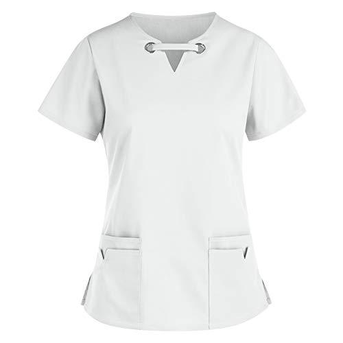 Scrubs Uniforms Women,Carina Camice Medico Donna Top Infermiere con Pressione Divisa Infermiere a Manica Corta Scollo V per i Dottori, Dentiste, Infermiere, Pediatri, Studenti, Veterinari con Tasca