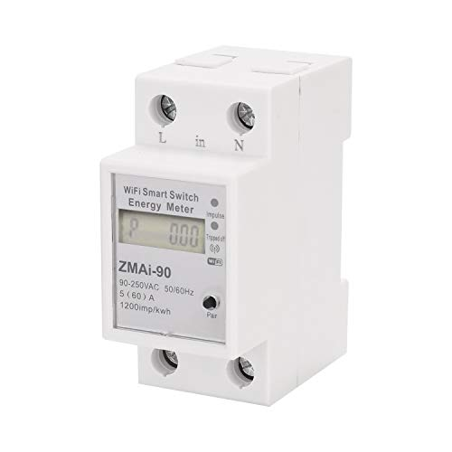 KKmoon Medidor eléctrico digital Monofásico de carril DIN KwhRail Wifi Medidor de energía inteligente Medidor de consumo de energía Meter Wattmeter Support La aplicación Smartlife/Tuya funciona