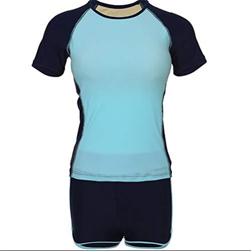 ZXnrz Bademode Retro Vintage Bikini Badeanzug for Frauen Damen Mode Body Sport-Badeanzug, Boxershorts Zeigen dünner Bauch Gather Short Sleeve-Strand-Badeanzug 1015 (Color : A, Size : XL)