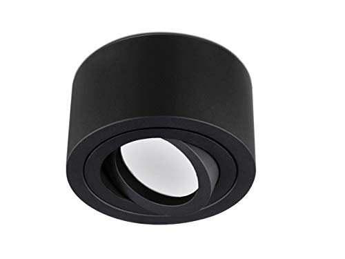 lambado® Flache LED Aufbaustrahler/Deckenstrahler Set inkl. 230V 5W Spots dimmbar - runde Aufbauleuchte/Deckenspots in schwarz matt