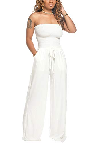 FEIYOUNG Women's Sexy Strapless Long Pant Jumpsuit Rompers Bodycon Drawstrings Pockets Jumpsuit White
