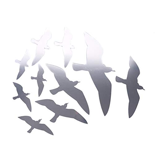 GOMYIE 3D Seagull Bird Combination Pattern Acrylic Mirror Effect Sticker Wall Sticker Mirror Surface Wall Stickers Home Decoration(Silver Color)