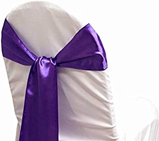 mds Pack of 200 Satin Chair Sashes Bow sash for Wedding and Events Supplies Party Decoration Chair Cover sash -Cadbury Purple