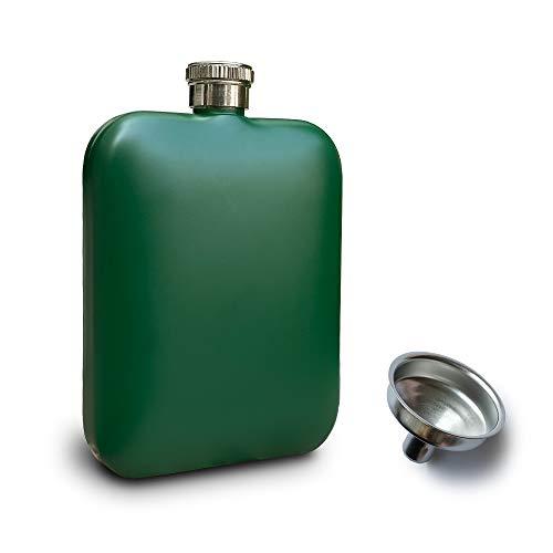 RRIBOUDWAN Fiaschetta per Liquore per Uomo con Imbuto Fiaschetta per Donna in Acciaio Inossidabile per Uso Alimentare Bottiglia di Vino Whisky Alcolico Nero 6 OZ (Verde_Opaco)