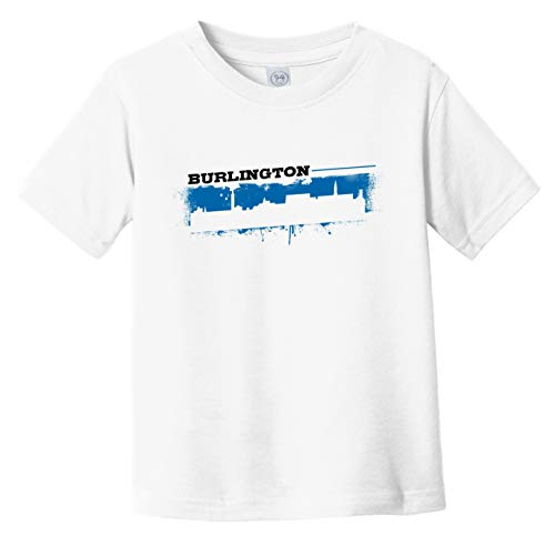 Really Awesome Shirts Burlington Vermont Skyline Retro Grafitti Style Infant Toddler T-Shirt, 5/6T White
