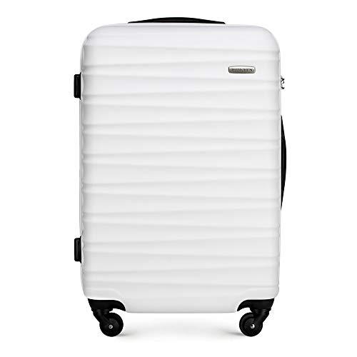 Stabiler Mittlerer koffer Trolley Koffer Reisekoffer von Wittchen Weiß ABS Hartschalen Trolley 4 rollen Kombinationsschloss