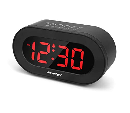 REACHER Small LED Digital Alarm Clock with Simple Operation, USB Phone Charger Port, Easy Snooze, Red LED Numbers, Outlet Powered Compact Clock for Bedrooms Bedside(Black)