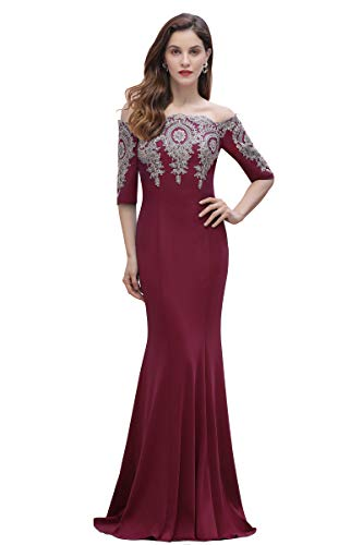 Half Sleeve Off Shoulder Mermaid Lace Beading Evening Gowns,Burgundy,10