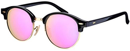 La Optica B.L.M. Damen Sonnenbrille Halbrahmen UV 400 Rund Round - Vintage Retro Schwarz Gold (Gläser: Rosa/Pink verspiegelt)