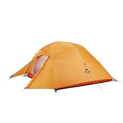 Naturehike Neu Cloud-up 3 Upgrade Ultraleichte Zelte 3 Personen Zelt 3-4 Saison für Camping Wandern (210T Orange Upgrade)