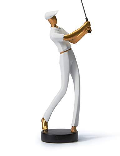 Amoy-Art Golf Skulptur Dekor Golfer Moderne Figuren Arts Abstrakte Statue Resin Golfspieler Weiß 24cmH