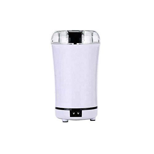 Multi-Function Koffiemolen, Elektrische Mini roestvrij staal Huishoudelijke Koffiemolen Poeder Machine, geschikt voor het malen van granen Beans Spices Medicinal,White