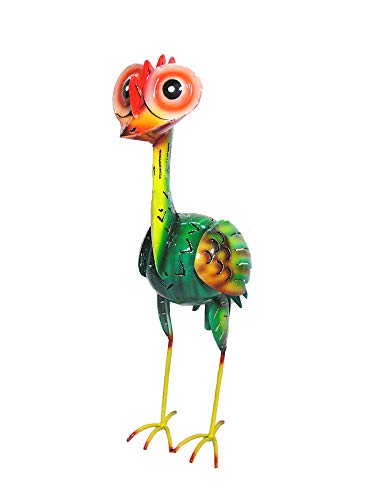 Gartenskulptur Emo Airbrush bunt Gartenfigur Gartentier Teelichthalter Windlicht Vogel-Figur Gartendeko