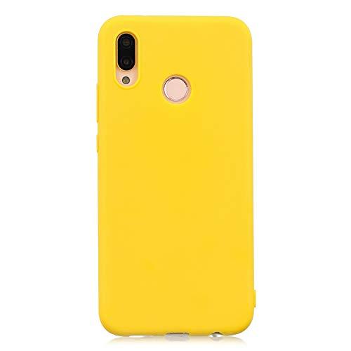 cuzz Custodia Huawei P20 Lite+{Film di Vetro temperato}Silicone TPU Cover Morbida Protettiva Custodia Ultra Sottile Leggero Cover-Giallo