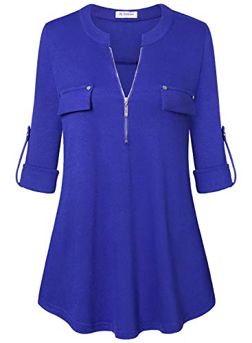 Bulotus Women's 3/4 Sleeve V Neck Casual Trendy Tunic Top with Zipper,Blue,X-Large
