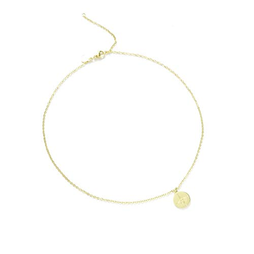 Kim Johanson Stainless Steel Women's Necklace *Various Designs & Colours* in Rose Gold, Gold & Silver Friendship Chain, Gift, Lucky Charm, Jewellery, Chain with Jewellery Bag Compass - gold