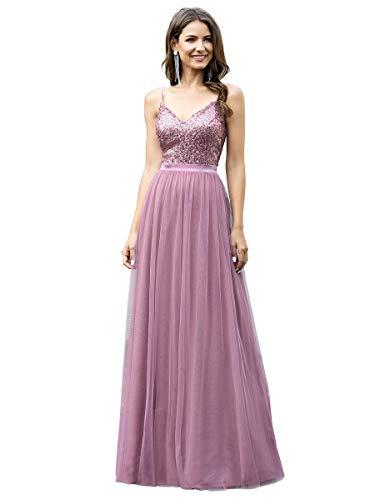 Ever-Pretty Vestito da Cerimonia Donna Paillettes Tulle Linea ad A Scollo a V Lungo 07392