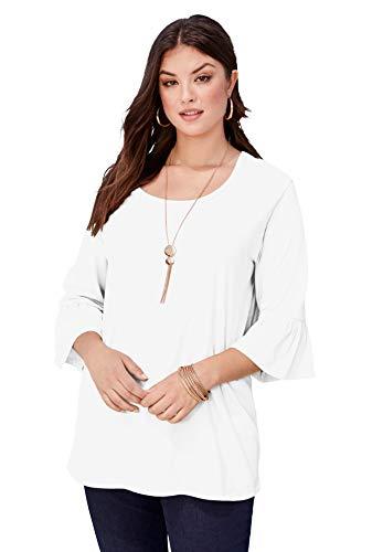 Roamans Women's Plus Size Bell-Sleeve Ultimate Tee Shirt - 34/36, White