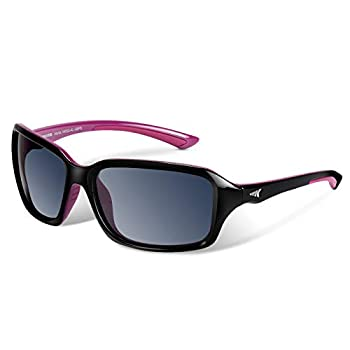 KastKing Alanta Polarized Sport Sunglasses,Gloss Black Purple Frame Smoke Lens